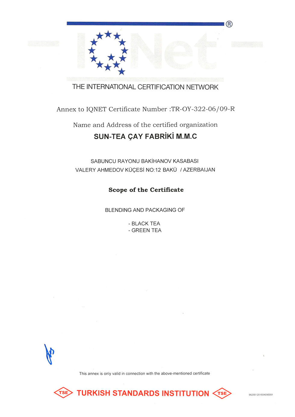 Certificate of H&S  Management System