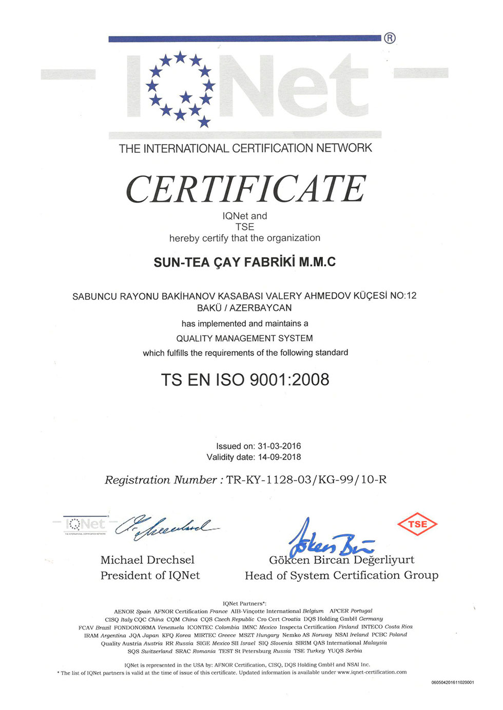 Certificate of Quality Management System