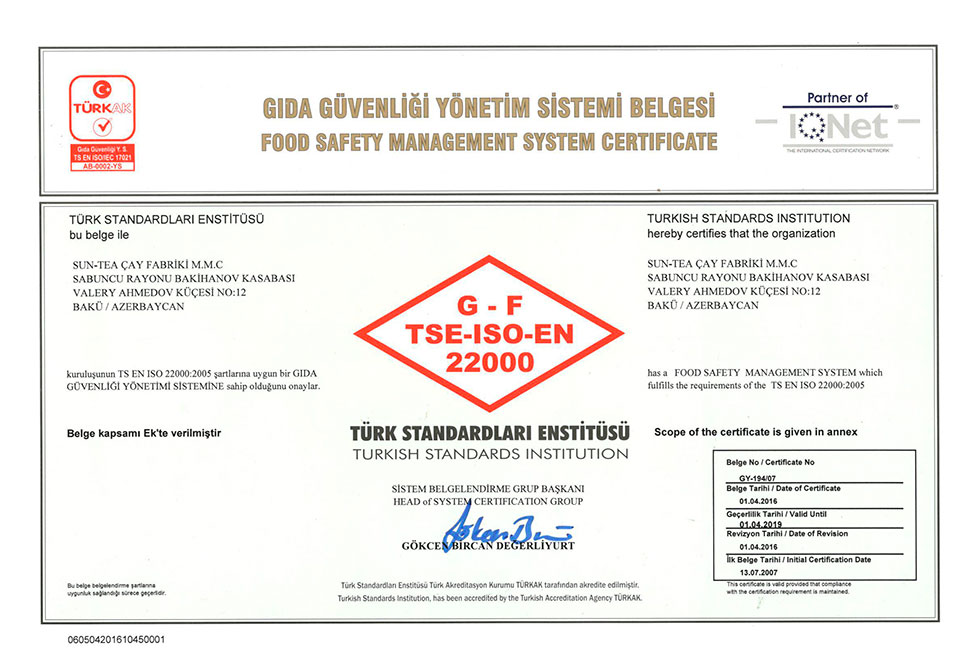 Certificate of Food Safety Management System